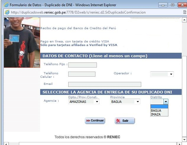 Desde hoy se podrá recoger losDNI solicitados via web en San Ignacio, Imaza y Bagua